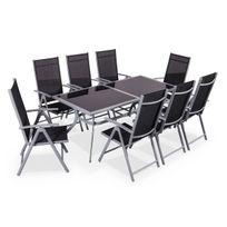 - Naevia Gris / Noir - Salon de jardin en aluminium table 8 places gris textilène fauteuil