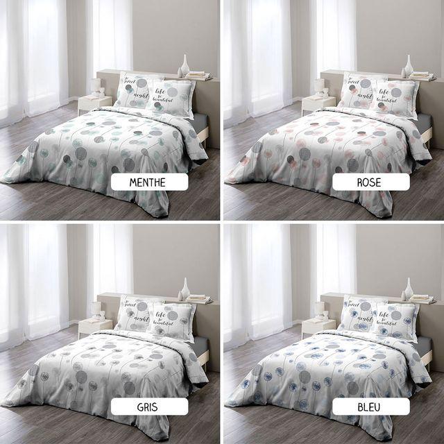 sans marque housse de couette 220 x 240 cm taies tina diff rents coloris menthe pas. Black Bedroom Furniture Sets. Home Design Ideas