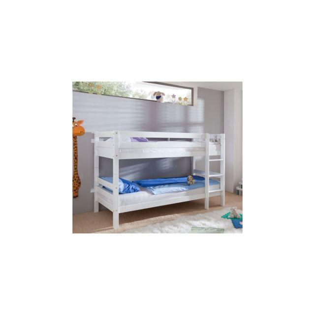 Befara Lit En Bois Olympe - Blanc laqué - 90 x 190 - Sans toboggan