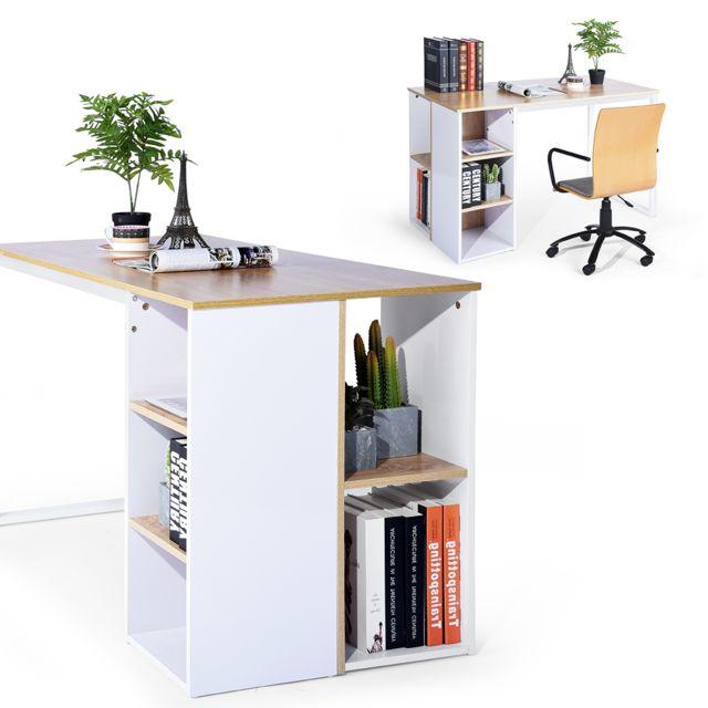 Meuble Express Bureau chêne blanc bois métal