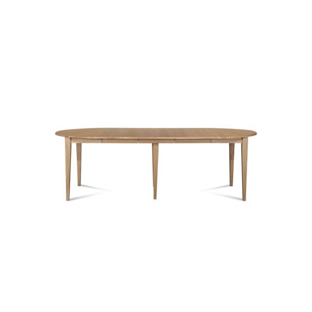 HELLIN Table ronde VICTORIA 6 pieds fuseau 115 cm + 3 rallonges bois