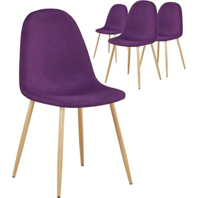 de COMFORIUM en 4 chaises tissu Lot violet design hCxrtdQsB