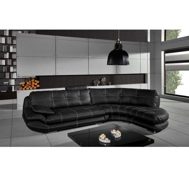 CHLOE DESIGN Canapé d'angle Regal - noir - Angle droit