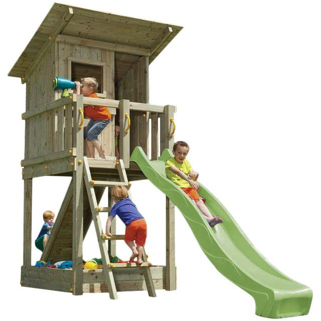 BLUE RABBIT - Aire de jeux en bois Beach Hut Avec rampe d'escalade