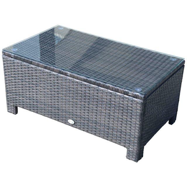 OUTSUNNY Table basse de jardin plateau verre trempé 5 mm rotin tressé 85 x 50 x 39cm Max. 50 kg marron 21