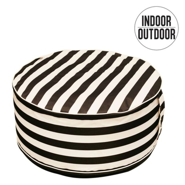 The Home Deco Factory Pouf de jardin gonflable design rayé Lola - Diam. 56 cm - Blanc