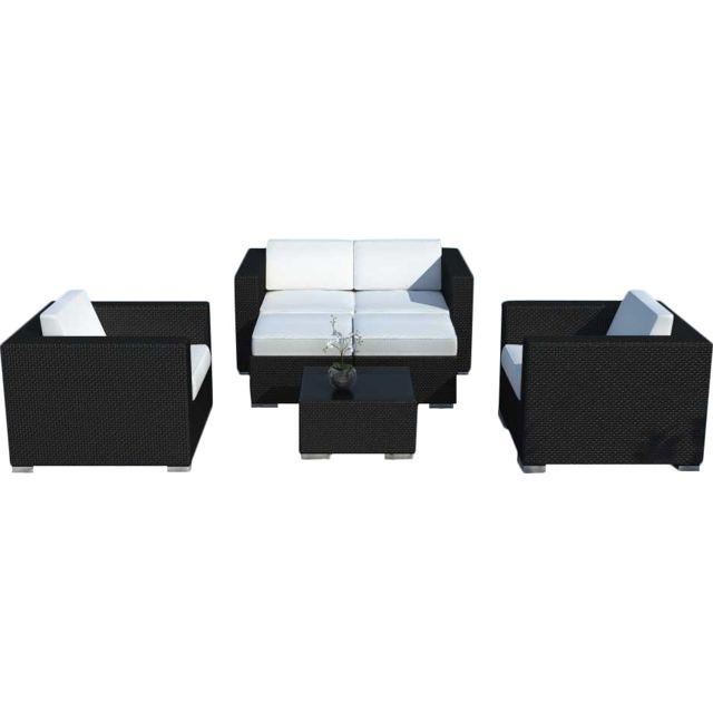dee8ae2c5741a3 DELORM - Salon de jardin 4 à 6 places en résine noire avec coussins ...