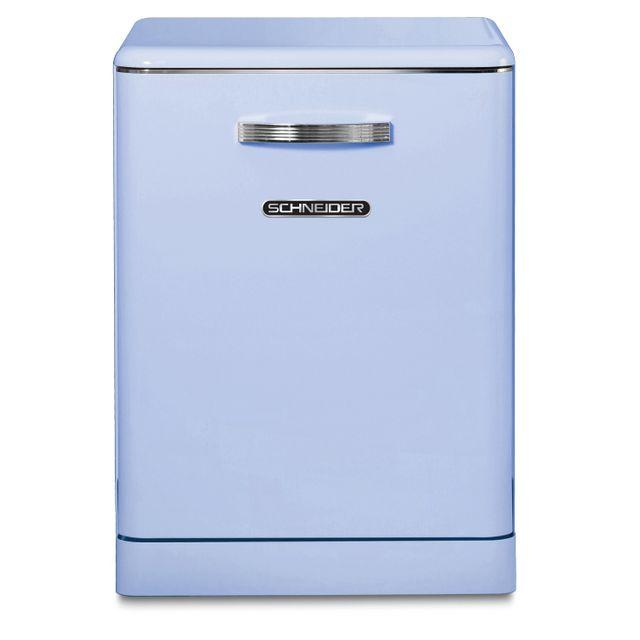 Schneider Sdw1444VBL Lave-vaisselle pose libre Vintage 14 couverts - 44 dB - départ différé 3/6/9h - coloris bleu - A++/A/A