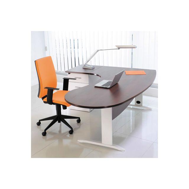 Bureau professionnel angle à gauche 200x110x72 cm coloris blanc et wengé