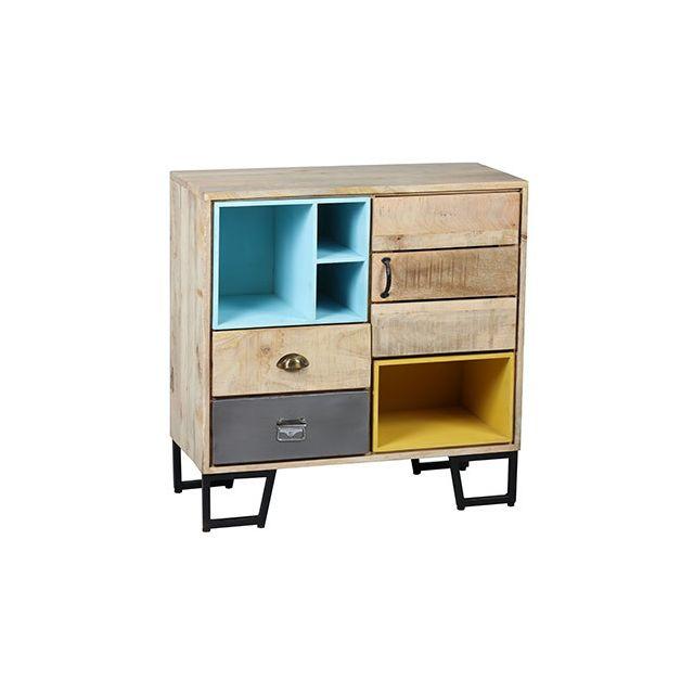 Commode 2 tiroirs 1 porte 2 niches en acier gris et bois massif