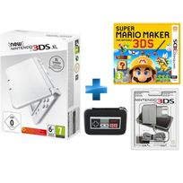 NINTENDO - New 3DSXL Blanc Perle + Super Mario Maker + BLOC ALIMENTATION 3DS DSI XL ET DSI + New 3DS XL Retro NES Sacoche rigide
