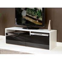 Symbiosis - Meuble Tv avec tiroirs et niches Glossy - Blanc / Noir - Blanc / Noir