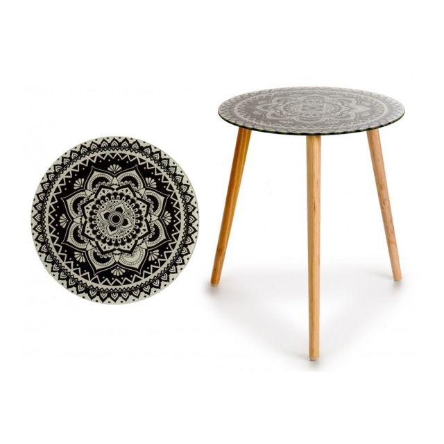 Sans Marque Table Gigogne Ronde Mandala Verre 40cm Noir 20cm X