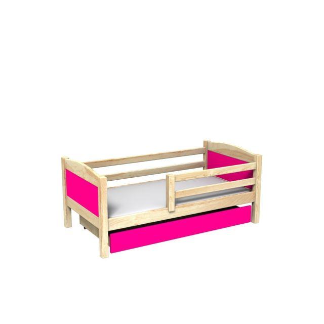 Mpc Lit avec tiroir et matelas en pin panneaux roses