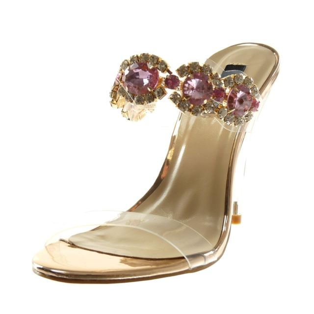 Angkorly - Angkorly - Sandale escarpin slip-on - transparent bijoux strass  diamant b49bd5811115