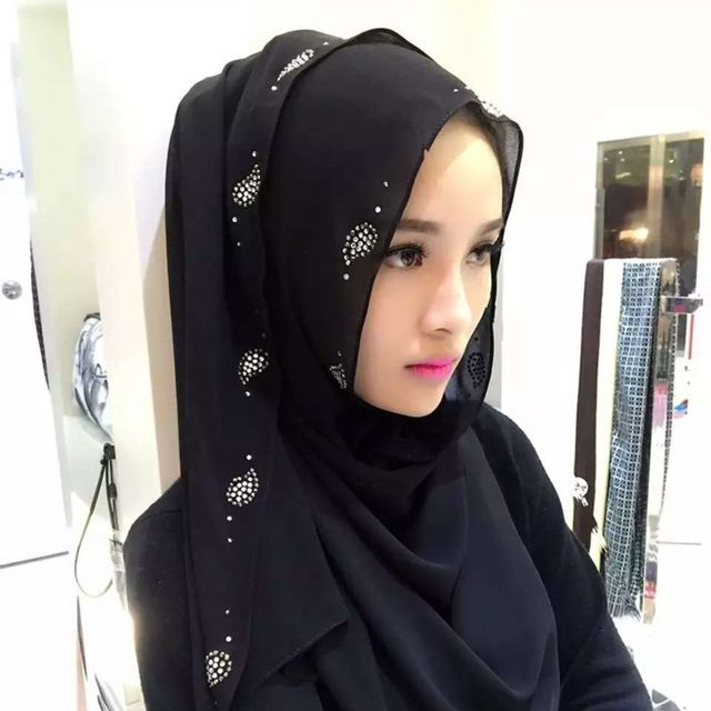 Wewoo - Strass en Mousseline de Soie Perle Caché Boucle Foulard Femme  Nationalité Style Foulard Hijab Foulard Musulman Noir - pas cher Achat    Vente ... 25e8fa24452