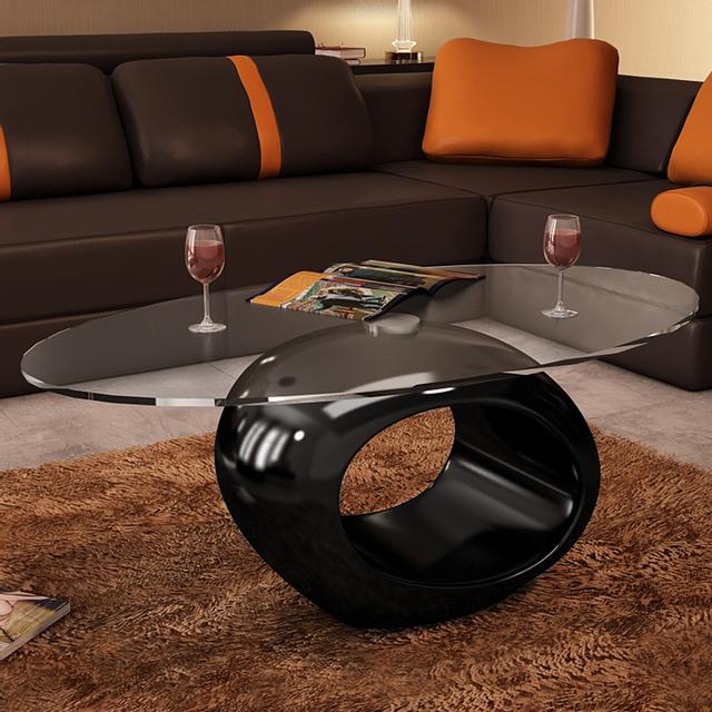 Vidaxl Table basse en verre, pied noir laqué