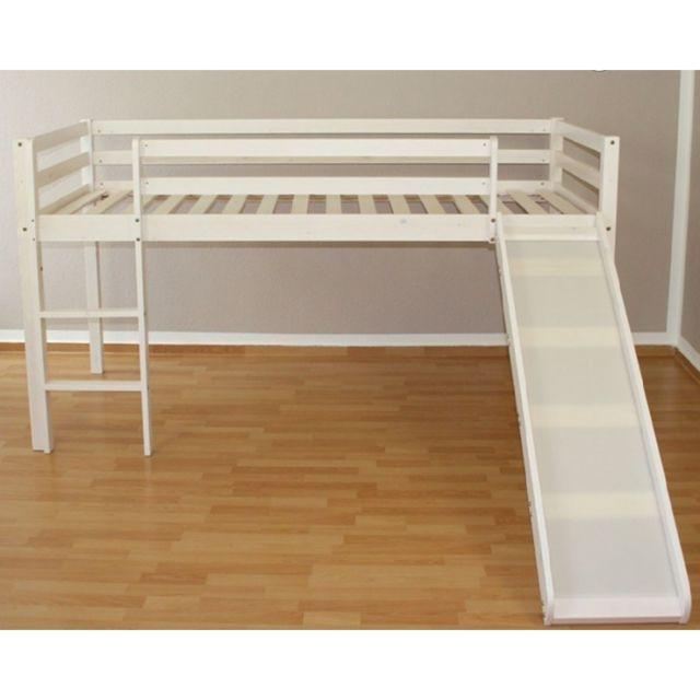 Decoshop26 Lit mezzanine 90x200cm avec échelle toboggan en bois laqué blanc Lit06005