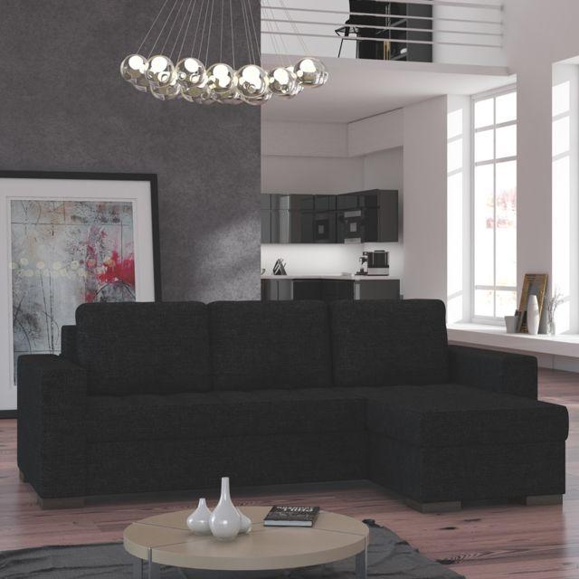 KASALINEA Canapé d'angle convertible noir en tissu FERNANDO