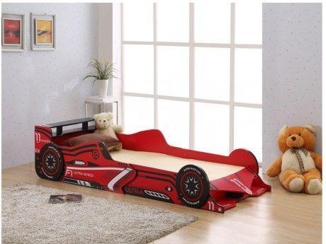 Vente-unique Lit voiture Formule 1 - 90x190cm - Mdf rouge - Leds
