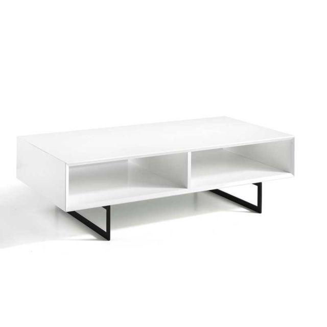 Tousmesmeubles Table basse rectangulaire 2 niches Blanc/Noir - Hahei