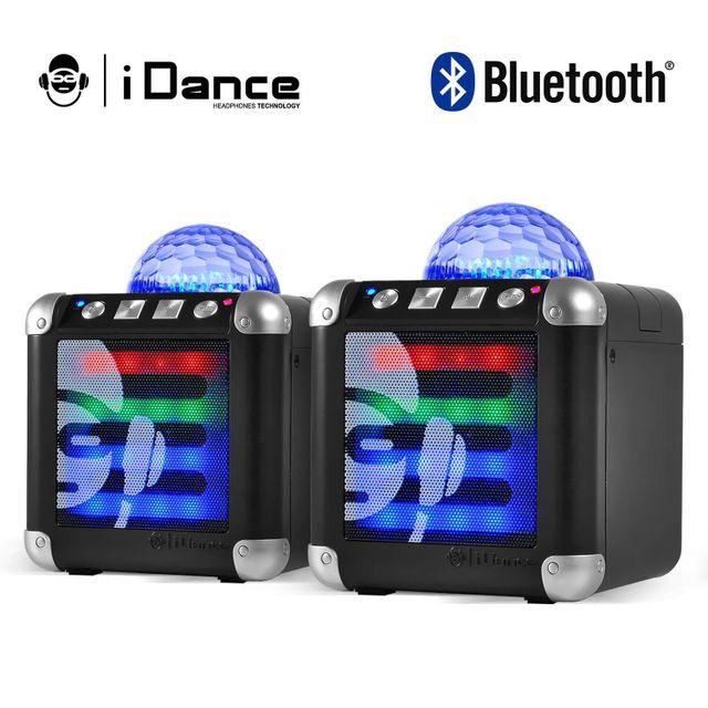 Idance Lot de 2 Mini enceintes bluetooth noir à Leds Rgb sur batterie Cube Mini 3