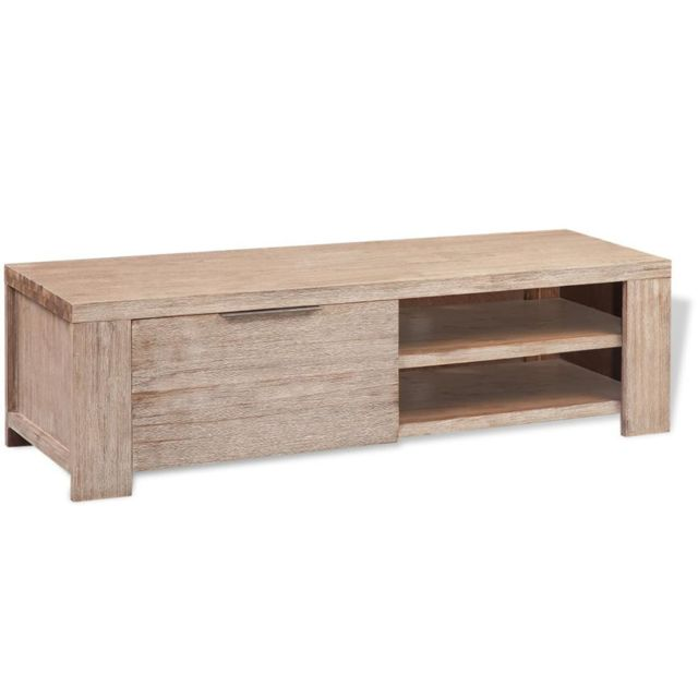 Helloshop26 Meuble télé buffet tv télévision design pratique bois d'acacia massif brossé 140 cm 2502128