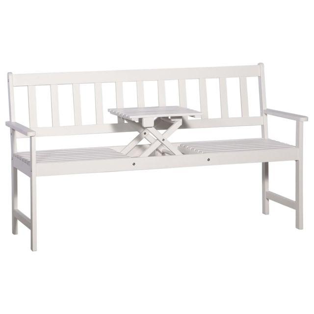 Vidaxl Banc de jardin et table escamotable Blanc Bois solide d'acacia - Sièges d'extérieur - Bancs d'extérieur | Blanc | Blanc