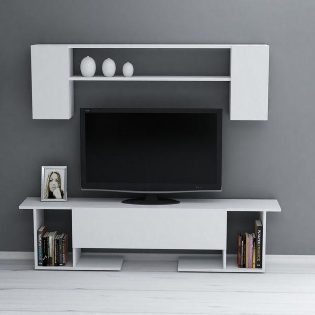 Homemania Kaan Meuble Tv avec table basse, portes, étagères - pour le salon -blanc en Bois, 180 x 31,5 x 45 cm