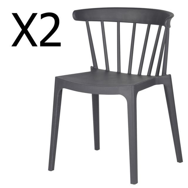 PEGANE Lot de 2 chaises de jardin en plastique coloris