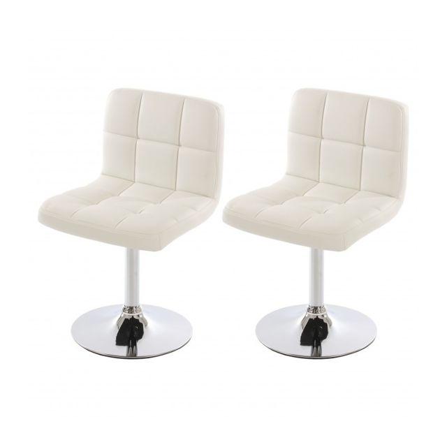Autre Lot de 2 chaises fauteuils de salle à manger en simili-cuir blanc Cds04069