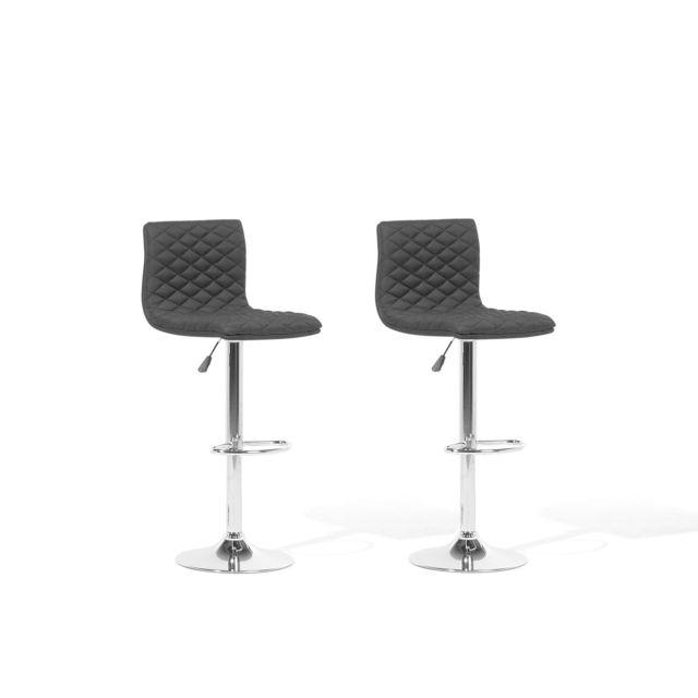 Lot de 2 chaises de bar réglable en tissu noir ORLANDO noir