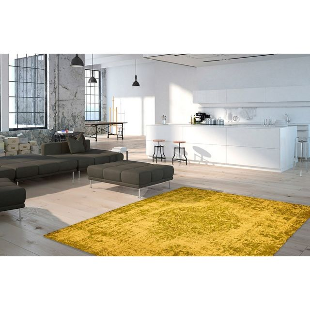 Deladeco Tapis plat effet vintage rectangle jaune Shipa