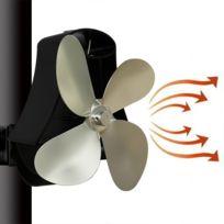 Yl 105 Ventilateur de poêle de cheminée à chaleur en aluminium à 4 lames argent