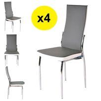 Import&DIFFUSION - Lot de 4 chaises gris / blanc - Aura