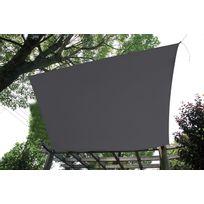RUE DU COMMERCE - Voile d'ombrage rectangle gris foncé L 400 x l 300 cm - GQC00461H