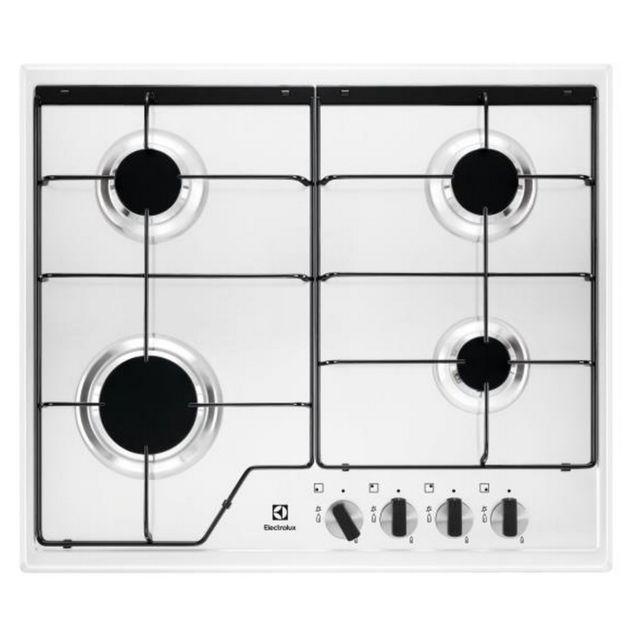 electrolux table de cuisson gaz 60cm 4 feux 7800w blanc kgs6424w achat plaque de cuisson gaz. Black Bedroom Furniture Sets. Home Design Ideas