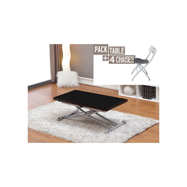 Giovanni Table relevable Clever Noir + 4x Chaises Pegasso
