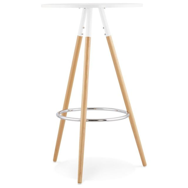 Alterego Table haute ronde 'BARY' en bois blanc
