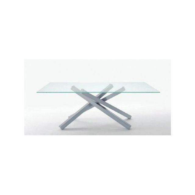 Inside 75 Table repas Infinity en verre transparent 200 cm