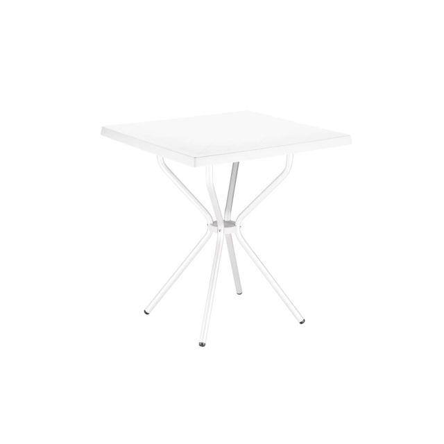 PEGANE - Table de jardin en Plastique blanc - 70 x 70 x 72 cm - pas ...