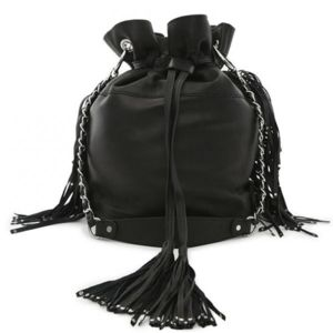 ikks sac seau noir groom cuir franges bh95439 02 pas cher achat vente sacs main. Black Bedroom Furniture Sets. Home Design Ideas