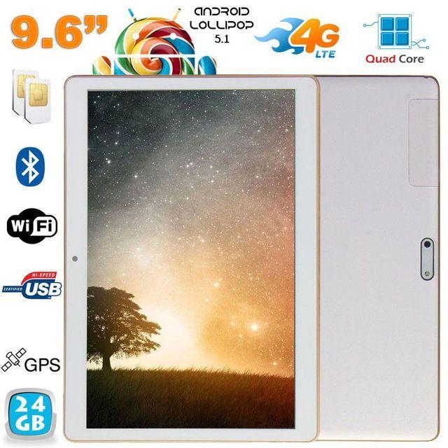Yonis Tablette 4G Android Lollipop 9.6 pouces Dual Sim Quad Core 24Go Blanc