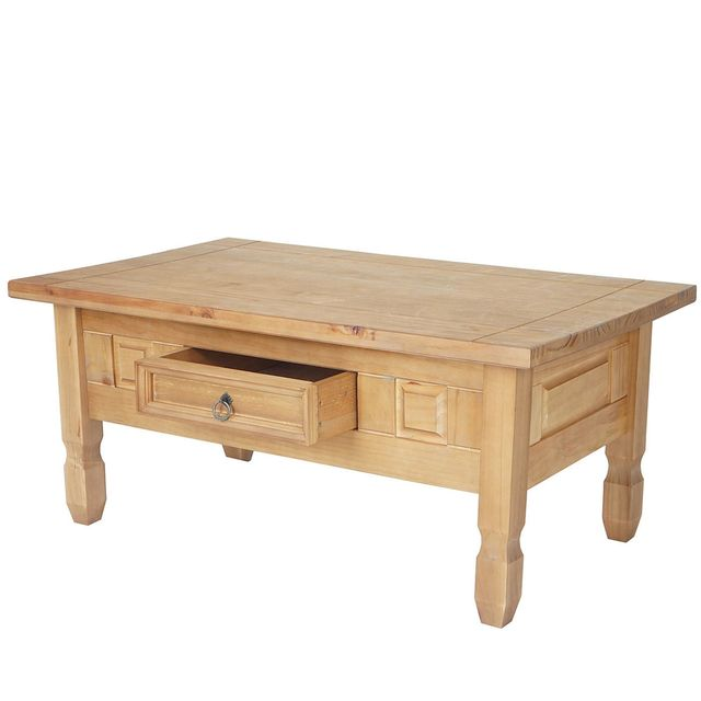 Mendler Table bas Innsbruck, table de salon, style cottage, bois massif 100x60cm
