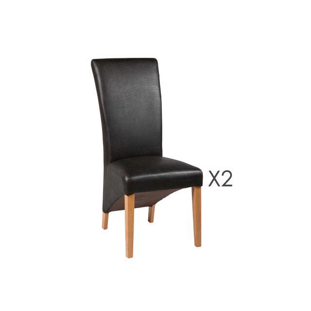 Lot de 2 chaises simili cuir coloris marron