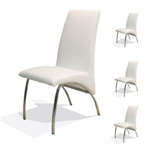 soldes tousmesmeubles quatuor de chaises simili cuir blanc dora pas cher achat vente. Black Bedroom Furniture Sets. Home Design Ideas