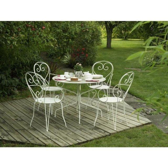 Aucune - Table de jardin romantique en fer forgé avec trou central ...