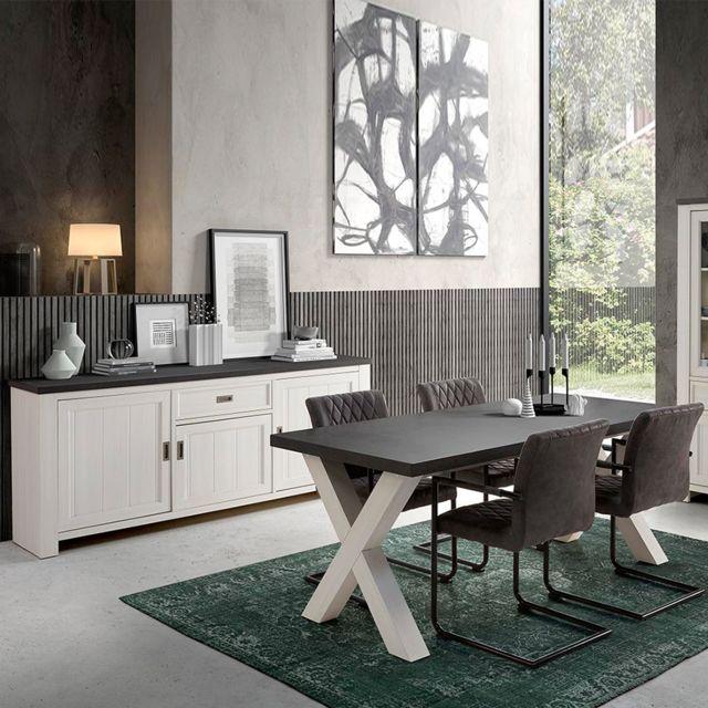 Nouvomeuble Salle à manger blanc et gris contemporaine Etienne