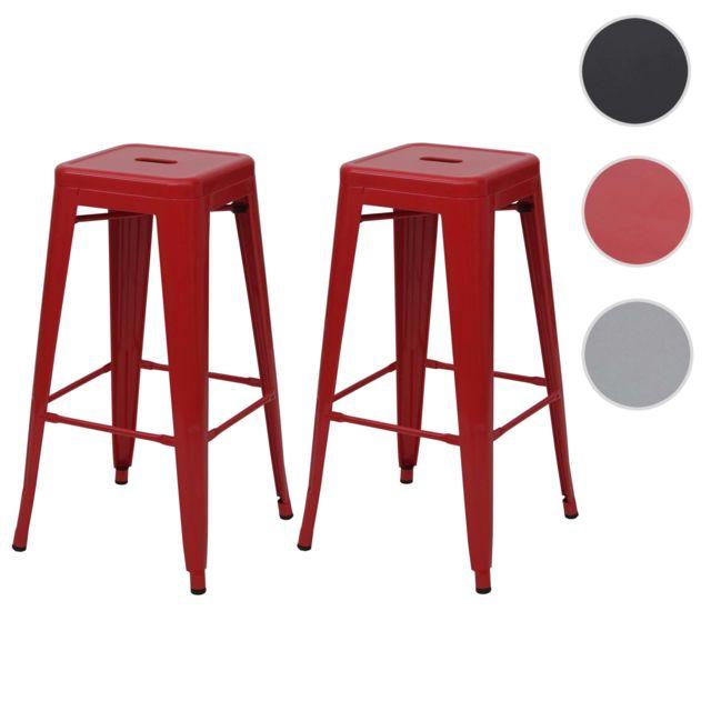 Mendler 2x tabouret de bar Hwc-a73, chaise de comptoir, métal, design industriel, empilable ~ rouge