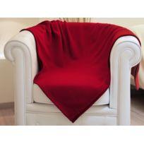 Intemporel - Plaid uni 1100x130 cm réf. Delhi c./ rouge, pur coton - Soleil d'Ocre